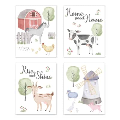 Farm Animal Wall Decor Art Prints (Set of 4) - Red Blue Pink Green Grey Watercolor Farmhouse Horse Cow Sheep Pig Home Sweet Home