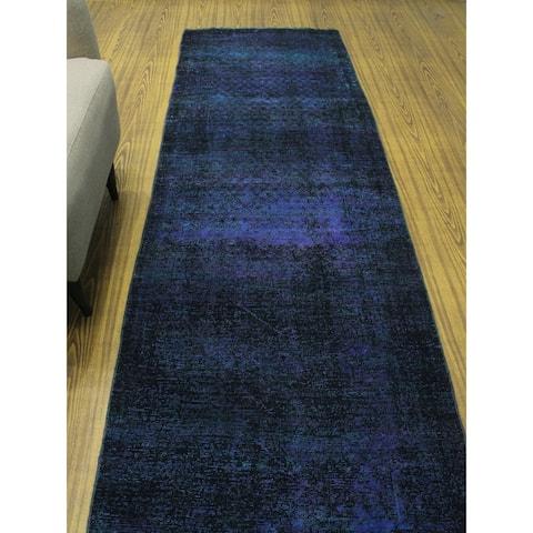 "Noori Rug Vintage Distressed Overdyed Tooba Purple/Green Runner - 3'0"" x 11'3"""
