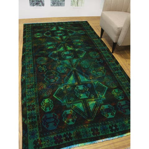 "Noori Rug Vintage Distressed Overdyed Lucia Green/Blue Rug - 4'10"" x 8'9"""