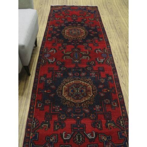 "Noori Rug Semi Antique Afaaq Red/Navy Runner - 3'2"" x 9'7"""