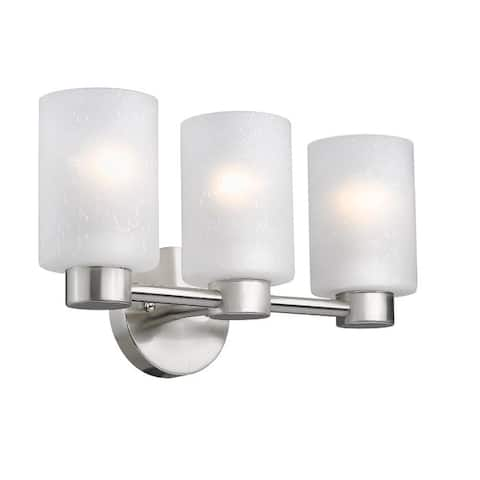 Lodewijk Three-Light Interior Wall Fixture, Brushed Nickel Finish with Frosted Seeded Glass
