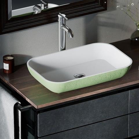 AB230 PolyStone Rectangle Vessel Sink Ensemble with C Vessel Faucet
