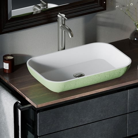 AB230 PolyStone Rectangle Vessel Sink Ensemble with BN Vessel Faucet