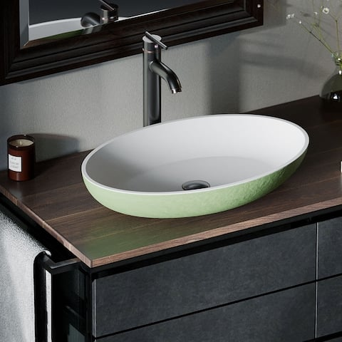 AB130 PolyStone Oval Vessel Sink Ensemble with ABR Vessel Faucet