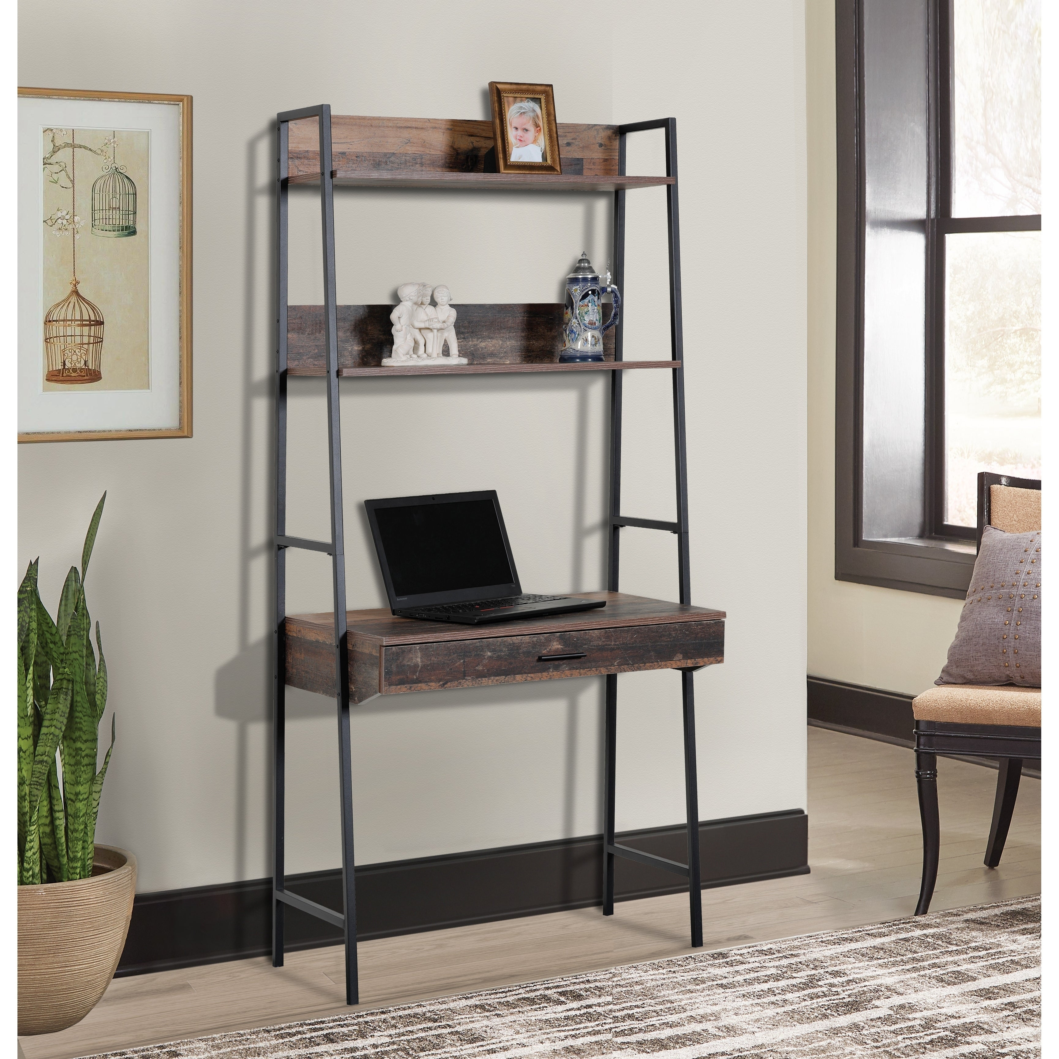 Os Home And Office Furniture Model 41106 Ladder Style Desk With Drawer And Two Shelves With Metal Uprights On Sale Overstock 30812670