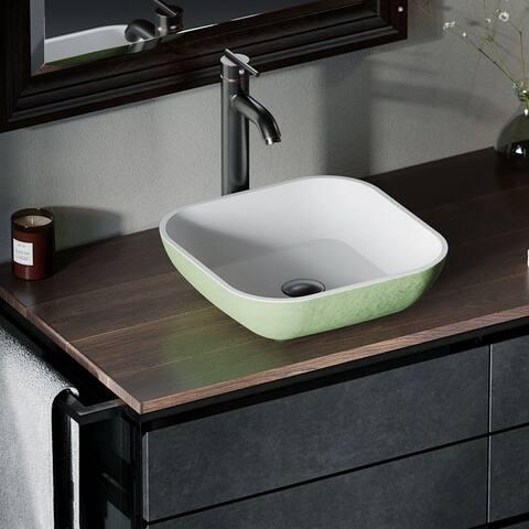 AB330 PolyStone Square Vessel Sink Ensemble with ABR Vessel Faucet
