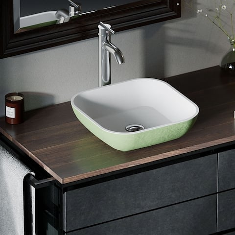 AB330 PolyStone Square Vessel Sink Ensemble with C Vessel Faucet