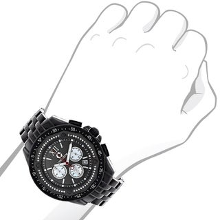 Centorum Men's Chronograph 3/5ct TDW Black Diamond Watch