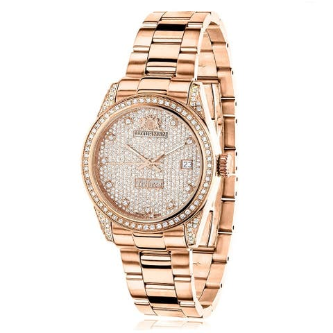 Luxurman Women's Tribeca Rose Gold Stainless Steel 1.5-carat Diamond Watch
