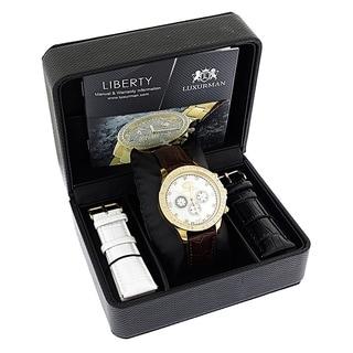 Luxurman Liberty Men's Yellow Goldplated Stainless Steel 2-carat Diamond Swiss-movement Watch