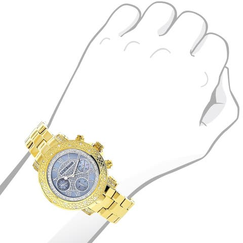 Luxurman Women's Montana 0.3ct Diamond Accent Yellow Gold-plated Watch with Metal Band and Extra Lea