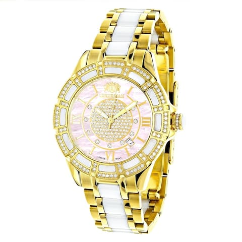 Luxurman Gold Over Steel And Ceramic 1 1/4Ct Tdw Diamond Watch