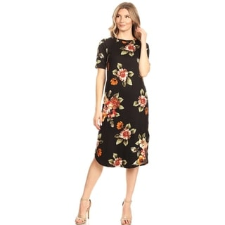 Casual Pattern Print Knee Length Bottom Curved Hem Short Sleeve Midi Dress