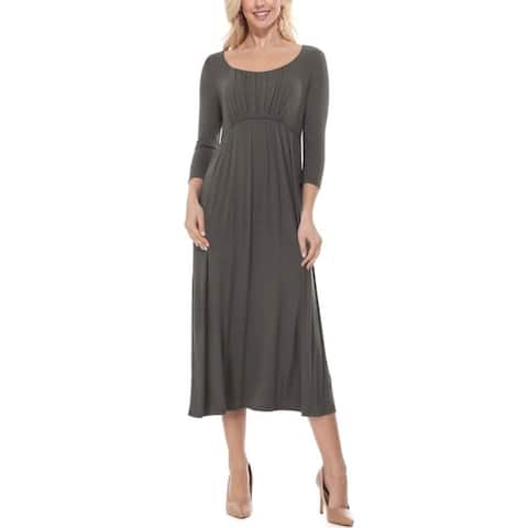 Solid 3/4 Sleeve Scoop Neck Pleated Midi Maxi Dress