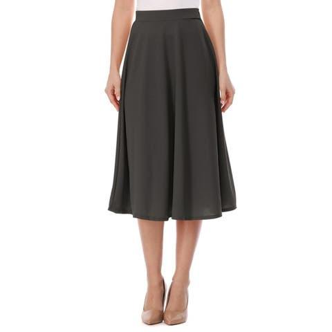 High Waist A-Line Flared Pleated Midi knee Long Casual Skirt