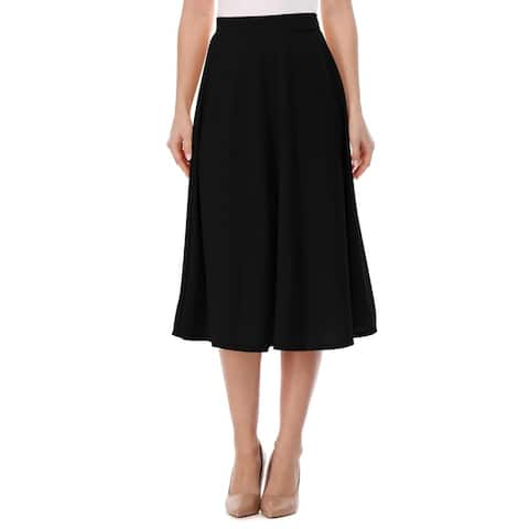 High Waist A-Line Flared Pleated Midi knee Long Casual Skirt