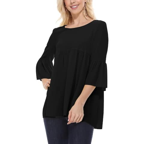 Solid Round Neck Babydoll Short Sleeve Casual Tunic Blouse Top
