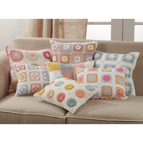 Throw Pillow with Crochet Design