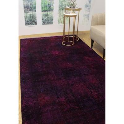 "Noori Rug Vintage Distressed Overdyed Muborak Purple/Blue Runner - 5'4"" x 10'3"""