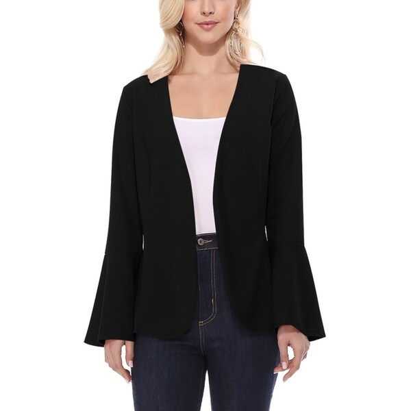 Casual Bell Sleeves Open Front Solid Blazer Cardigan Jacket. Opens flyout.