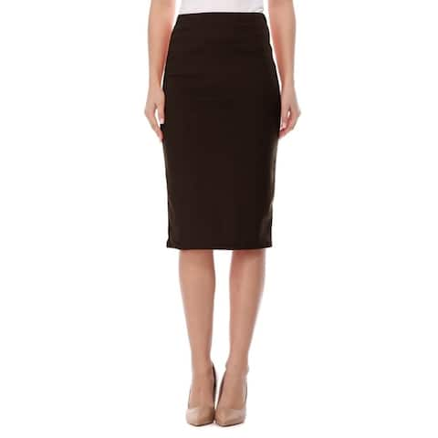 High Waist Pencil Solid Knee Length Office Work Skir