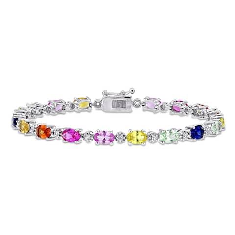 Miadora Sterling Silver Multi-color Created Sapphire Tennis Bracelet