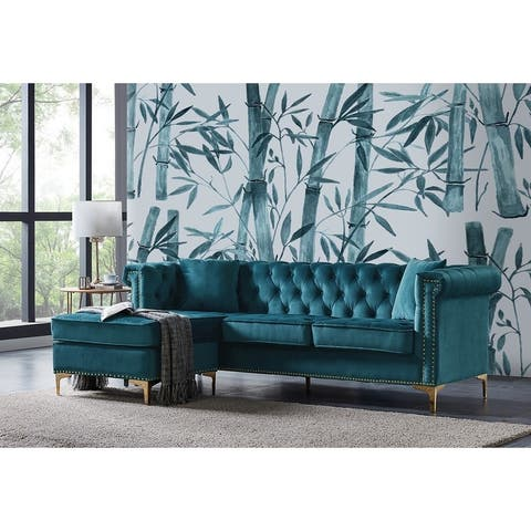 Chic Home Ohau Left Facing Velvet Upholstered Sectional Sofa