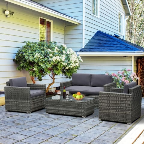 Outsunny 4-piece Cushioned Patio Furniture Set