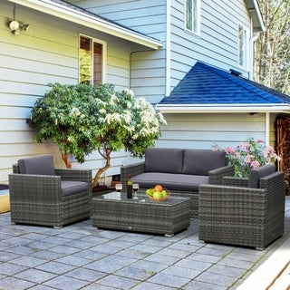 Link to Outsunny 4-piece Cushioned Patio Furniture Set Similar Items in Patio Furniture
