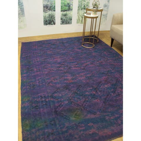 "Noori Rug Overdyed Kilim Ashmath Purple/Blue Rug - 6'11"" x 9'1"""