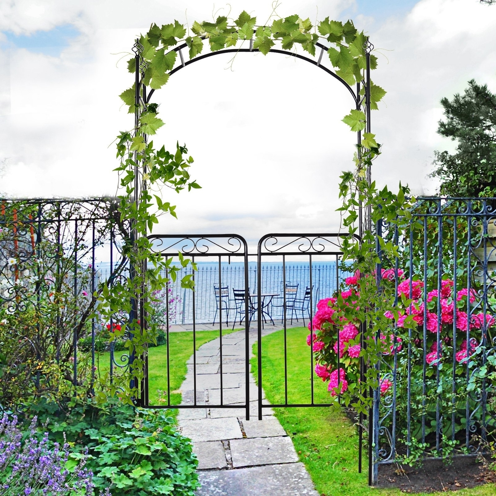 Shop Outsunny Decorative Garden Trellis With Two Latched Swinging
