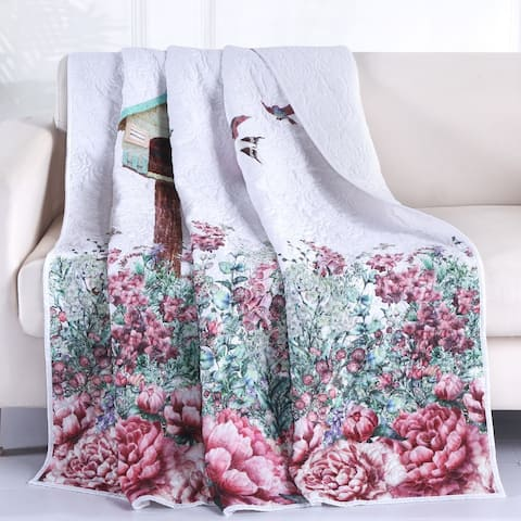 Porch & Den Jewell Birdhouse Throw Blanket with Embroidered Songbirds
