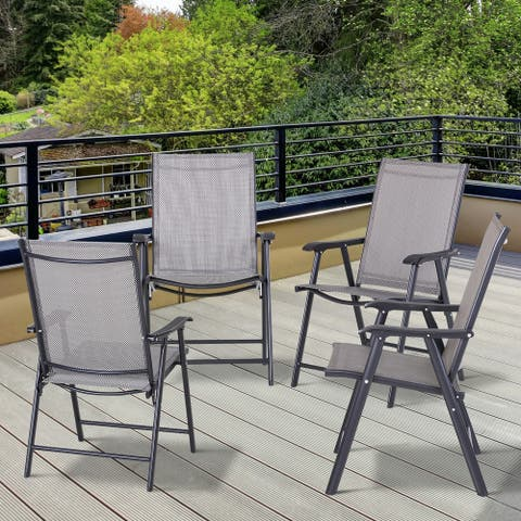 Outsunny 4-piece Folding Patio Chair Set with a Simple & Chic Design, Comfortable for the Deck, Garden, Yard & Travel