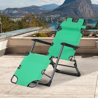 Link to Outsunny Metal Frame Outdoor Pool Sun Lounger Reclining Chair 120?/180? with Comfy Head Pillow & Reclining Design, Green Similar Items in Patio Furniture