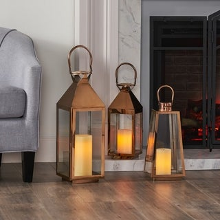 Peregrine Modern Stainless Steel Lantern Set by Christopher Knight Home