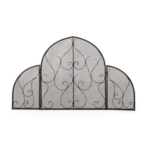 """Haddon Modern Iron Fireplace Screen by Christopher Knight Home - 54.75"""" H x 32.75"""" W x 1.25"""" D"""