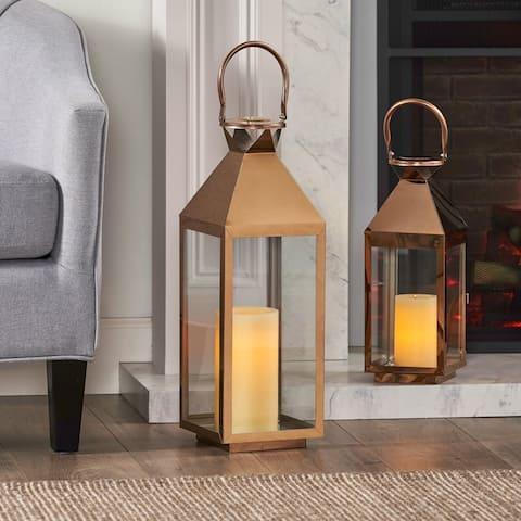 Kestrel Modern Stainless Steel Lantern Set by Christopher Knight Home