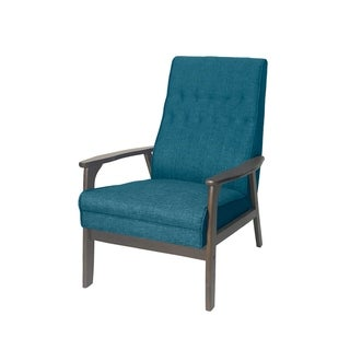 Christopher Knight Home Hoye Mid-Century Modern Accent Chair by  - 25.75 inch W x 31.50 inch D x 39.00 inch H (Blue + Walnut)