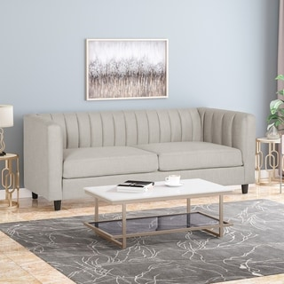 """Link to Humbolt Contemporary Channel Stitched Fabric 3 Seater Sofa by Christopher Knight Home - 83.00"""" W x 29.00"""" D x 31.00"""" H Similar Items in Sofas & Couches"""