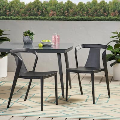 """Orchid Outdoor Stacking Dining Chair (Set of 2) by Christopher Knight Home - 21.50"""" W x 19.50"""" D x 30.50"""" H"""
