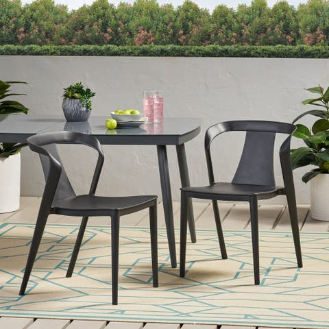 "Orchid Outdoor Stacking Dining Chair (Set of 2) by Christopher Knight Home - 21.50"" W x 19.50"" D x 30.50"" H"