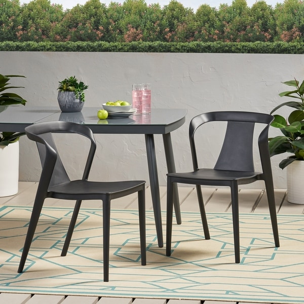 """Orchid Outdoor Stacking Dining Chair (Set of 2) by Christopher Knight Home - 21.50"""" W x 19.50"""" D x 30.50"""" H. Opens flyout."""