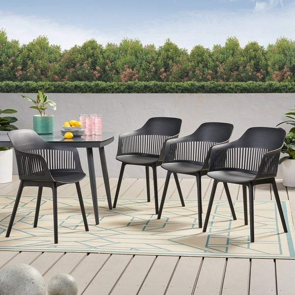 """Dahlia Outdoor Modern Dining Chair (Set of 4) by Christopher Knight Home - 22.50"""" W x 21.50"""" D x 33.00"""" H. Opens flyout."""