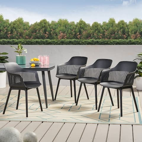 """Dahlia Outdoor Modern Dining Chair (Set of 4) by Christopher Knight Home - 22.50"""" W x 21.50"""" D x 33.00"""" H"""