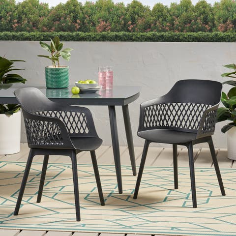 "Azalea Outdoor Modern Dining Chair (Set of 2) by Christopher Knight Home - 23.00"" W x 21.50"" D x 33.00"" H"
