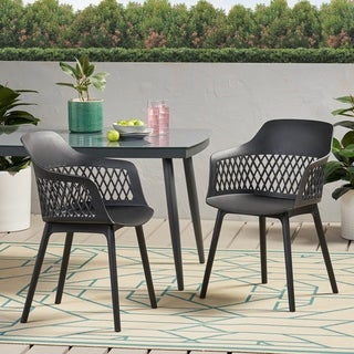 "Link to Azalea Outdoor Modern Dining Chair (Set of 2) by Christopher Knight Home - 23.00"" W x 21.50"" D x 33.00"" H Similar Items in Dining Room & Bar Furniture"