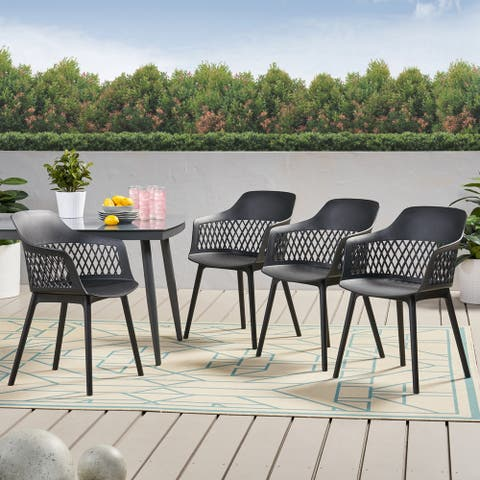 "Azalea Outdoor Modern Dining Chair (Set of 4) by Christopher Knight Home - 23.00"" W x 21.50"" D x 33.00"" H"