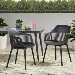 """Link to Dahlia Outdoor Modern Dining Chair (Set of 2) by Christopher Knight Home - 22.50"""" W x 21.50"""" D x 33.00"""" H Similar Items in Patio Dining Chairs"""