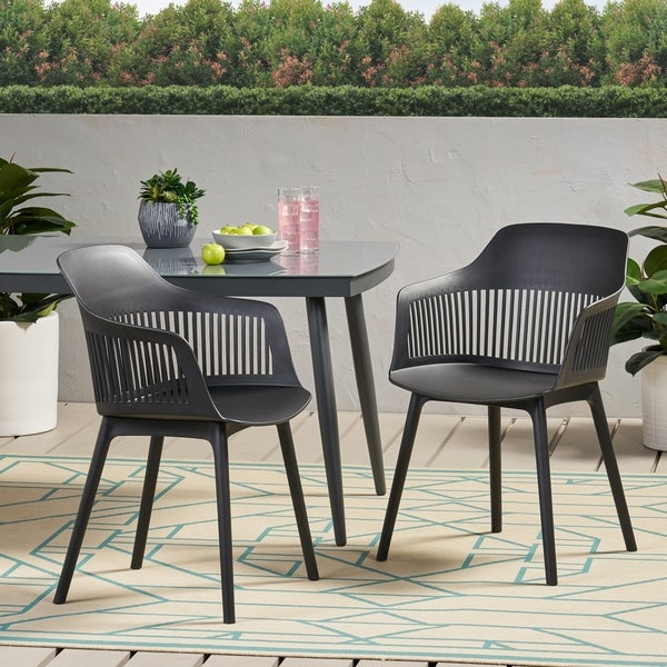 """Dahlia Outdoor Modern Dining Chair (Set of 2) by Christopher Knight Home - 22.50"""" W x 21.50"""" D x 33.00"""" H. Opens flyout."""