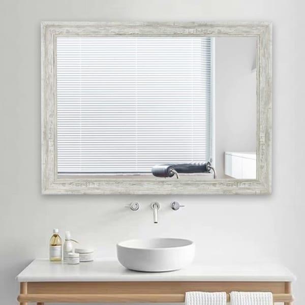 Rustic Style Rectangle Wall-Mounted Bathroom Vanity Mirror - 31.5x23.6